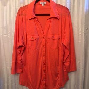 Indigo < Plus Size button down blouse size 3X